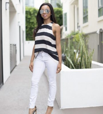 Horizontal stripped tank top, woman's stripped shirt