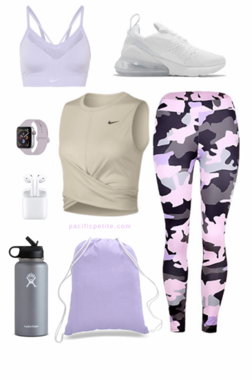 pink and purple Camouflage gym outfit-2